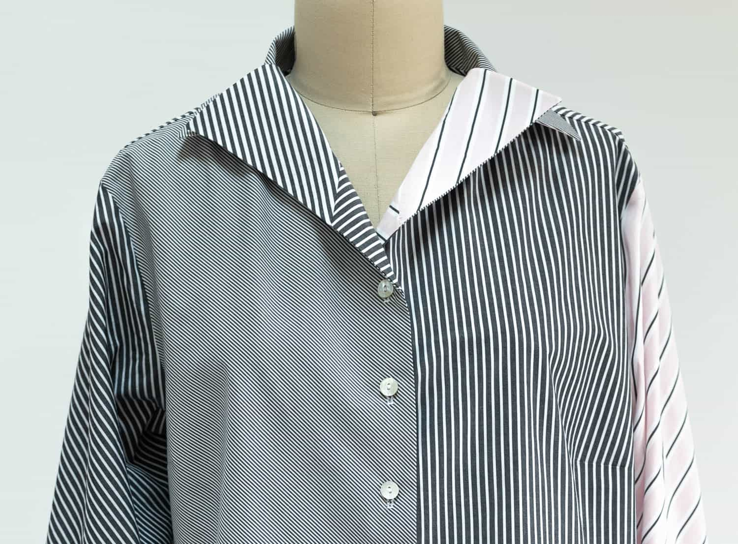 Katherine Tilton shows how to choose, combine and cut 3 different stripes in a shirt using Butterick 6521.